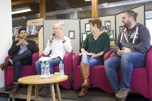 One of the Bute Noir 2018 events with  Chris Brookmyre (second from left) set to return this year.