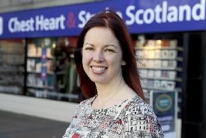 Chest Heart and Stroke Scotland chief executive Jane-Claire Judson, outside the charity's Grangemouth shop.