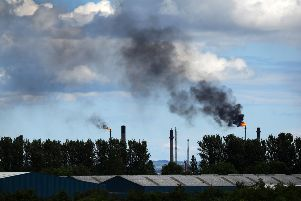 Black fumes coming from Ineos flaring. Pic: Michael Gillen.