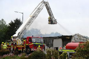 Firefighters tackled a blaze in Broad Street, Denny yesterday afternoon and today