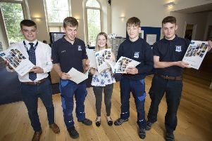Border Safeguard Apprentices Fraser Wheelans, Mathew Stanners, Milly Coltherd, Archie Penman and Lewis Robertson at the launch of the  Regional Skills Investment Plan