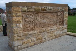 The amazing replica of the famous Bridgeness Slab which dates to the Roman occupation and building of the Antonie Wall.