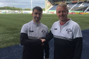 New East Stirlingshire signing Mark Millar with assistant Andy Rodgers