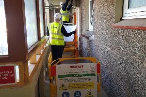 Moffat Electrical working on Forth View, flats, Kirkcaldy