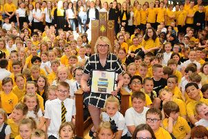 Anne Getty taught her final lesson at Maddiston Primary School last week. Picture: Michael Gillen