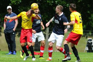 Denny Johnstone in action for Falkirk against Partick Thistle in bounce game