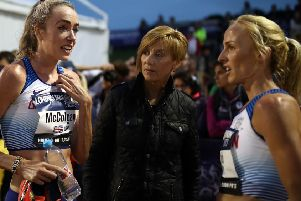 Eilish McColgan (l) of Great Britain talks to Liz McColgan (c) and Sarah Inglis (r) after the Women's European 10,000m Cup race during the 2019 Night of the 10,000m Pbs  (Photo by Bryn Lennon/Getty Images)