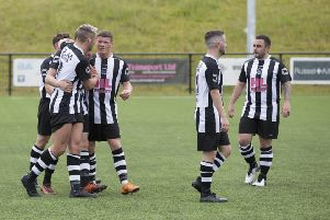Dunipace celebrate goal in friendly win over Cambusbarron Rovers