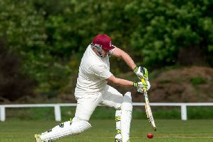 Stenhousemuir batsman Nicky Rodgers at the crease.''(c) Dave Johnston