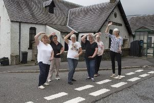 Walkerburn Tai chi members Wilma Oliver, Kareen Hogg, Jean Anderson, Win Pennel, Anne Glendinning and Lesley Thornton celebrate locality bid funding which will secure the future of Walkerburn Public Hall.