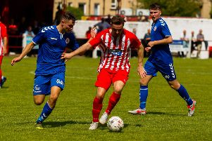 Sean Dockson came up against Camelon on Saturday after leaving Stenhousemuir last term. Picture: Scott Loudon.