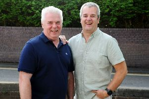 Blood brothers...Andrew and Steven Millar have been giving blood since they were 17, donating more than 250 pints over the years. (Pic: Michael Gillen)