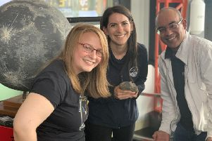 Former Denny High School pupil Tara Hayden, pictured left,  is now researching lunar rocks at the Open University