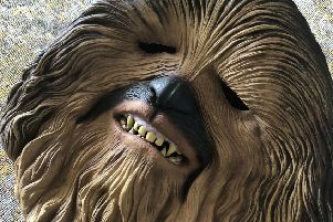 The signed Chewbacca mask worn by Lewis Capaldi whilst performing at TRNSMT. Pic: TRNSMT/PA Wire