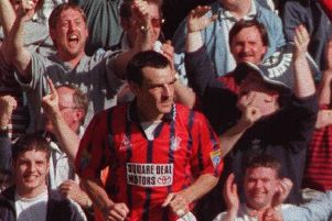 Paul McGrillen in action for Falkirk during the 1997 Scottish Cup semi-final against Celtic. Picture: Robert Perry