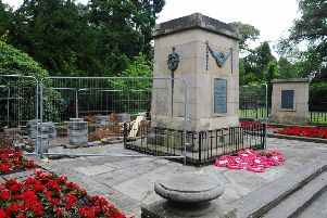 The war memorial in Dollar Park, currently the scene of important remedial work commissioned by the Friends of Falkirk War Memorial.