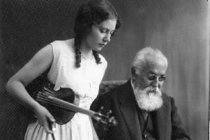 Evelyn with her teacher, Professor Otakar Sevcik.