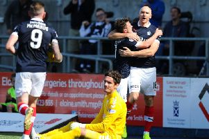 Falkirk striker Conor Sammon celebrates (picture: Michael Gillen)