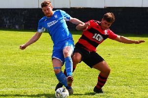 Hugh Kerr (left) has scored five goals for Lanark United in their last two matches (Pic by Billy Quigley)