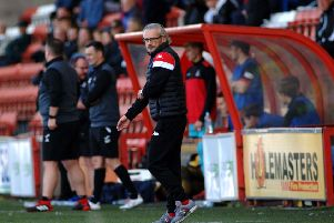 Danny Lennon looks on during Saturday's defeat at Airdrie (pic: John Steven/Airdrie FC)