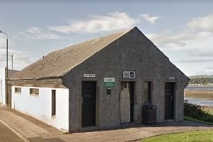 The toilet block in Maidens harbour