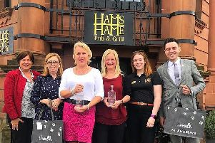 From left, Hamish Foundation founders Ms MacCallum, Linda-Anne Beaulier, Maggie Picken, Ms McDougall, Hannah Websiter, Hams Hame, Harry Donaghy, food and beverage manager at the Old Course Hotel.