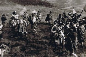 This was 'Outlander' 1953 ...with Argylls soldiers playing the part of Jacobites and Kings Own Scottish Borderers men acting as redcoats in the Disney film Rob Roy.  We're not sure which side won.