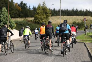 Pedal for Scotland passing through Avonbridge . Picture by Jamie Forbes.