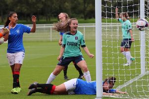 Leanne Crichton's opener hits the back of the Rangers net. (pic by Tommy Hughes)