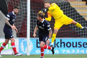 Falkirk goalkeeper Cammy Bell injured his knee during the stalemate with Airdrieonains (picture: Michael Gillen)