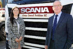 Lynsey Mitchell, Mitchell Haulage admin assistant, and Robert Frickleton Jack at the naming ceremony