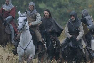 A scene from the first day of filming Outlaw King, on an estate outside Linlithgow.