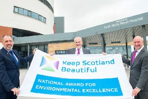 Pictured are Tony McLaughlin, Serco Contract Director; Jonathan Procter, NHS Forth Valley Director of Facilities and Infrastructure and Pete Leonard, Keep Scotland Beautiful Operations Director.