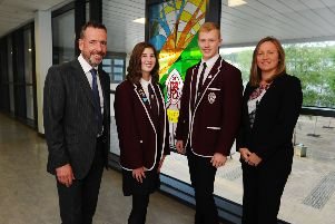 Head Teacher, Keith Webster; Rachel Laird, one of the Proxime Accessit; James Morrison, Dux and Juliana Marciano guest speaker.  Pic: Michael Gillen.