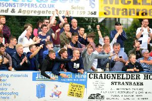 Around 300 Falkirk fans made the trip. Picture: Michael Gillen.