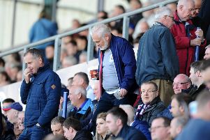 Mark Campbell tries to find his seat ahead of Falkirk v East Fife kick-off. Picture: Michael Gillen.