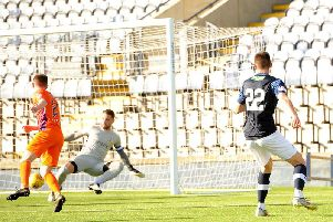 Kieron Bowie scores Raith's opener in the Challenge Cup win over Glenavon. Pic: Fife Photo Agency
