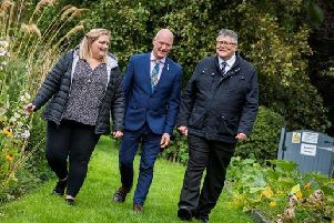 Pictured are, from left, Lara McDonald, member of the National Suicide Prevention Leadership Group; Joe FitzPatrick, Public Health Minister; and Billy Watson, Chief Executive of SAMH.