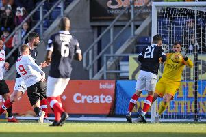 David Goodwillie 9 shot saved by Cammy Bell 1. Picture by Michael Gillen.