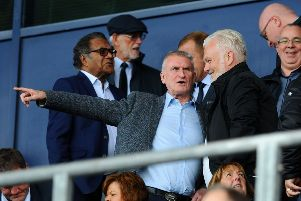 Mark Cambell (right) wants to buy a majority stake in the Bairns, but Sandy Alexander (left) currently holds the most club shares. Picture - Michael Gillen.