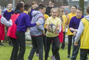 """MINISTER MARKS VOLUNTEERS�"""" WEEK WITH GLASGOW�""""S YOUNG SPORTS LEADERS' ' 'Overview of the event''Minister for Sport, Aileen Campbell, will meet Young Ambassadors and sports leaders at a sports day at Smithycroft High School in Glasgow as part of the national Volunteers�"""" Week celebrations. During Volunteers�"""" Week, hundreds of events and celebrations will take place across the country to celebrate the diversity of Scotland�""""s volunteers and say thank you for the important contribution they make.'Pic Peter Devlin"""