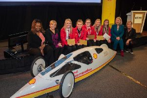 Gillian Martin MSP with the winning team Frenergy coached by Ann Montgomery and Amin Muhammad.