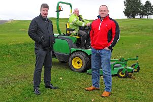 Braes Golf Centre management team Steve Matthews (right) and Douglas Morrison (left) are pictured with greenkeeper John Easton
