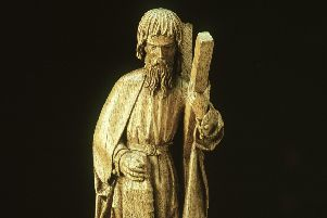 A carved statue of St Andrew in the Museum of Scotland, dated to around 1500.