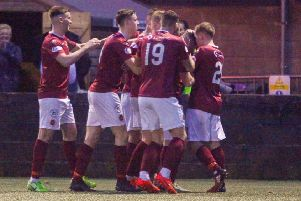 Stenhousemuir V Partick Thistle 16/11/19 Tunnock Caramel Wafer Cup Quarter Final. Hopkirk scores for Stenny to make it 1-1
