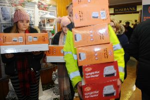 Electric heaters and cooker hobs were being distributed to those in need from Camelon Community Centre.  Pic: Michael Gillen.