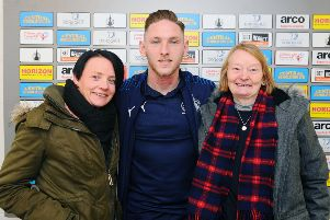 30-11-2019. Picture Michael Gillen. FALKIRK. Falkirk Stadium. Falkirk FC v Stranraer FC. Matchday 15. SPFL Ladbrokes League One. Charleen Steele and Sandra Mark with Declan McManus. Bairn for Life competition winners who got to sit in on the post match interview.