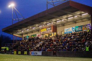 Under the lights at Ochilview, Stenhousemuir