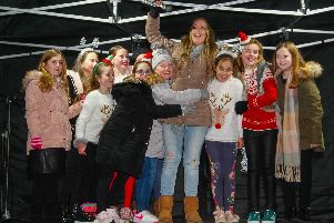 Stenhousemuir reindeer and Santa parade and Christmas lights switch on. Picture by Scott Louden.