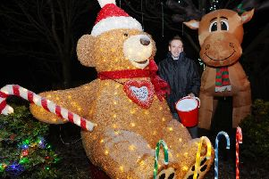 Ross Paget's large-scale Christmas decorations have proved immensely popular with passers-by. Picture: Michael Gillen